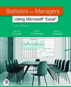 Solution Manual for Statistics for Managers Using Microsoft Excel 9th Edition Levine